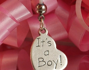 ITS A BOY Heart Sterling Silver Charm Maternity Belly Button Ring