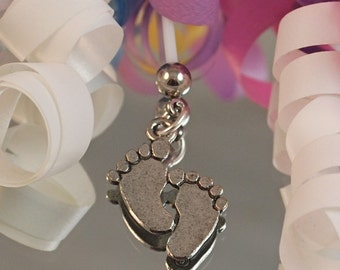 Antiqued Silver Baby Feet Maternity Belly Button Ring - Pewter