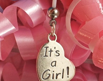 ITS A GIRL Heart Sterling Silver Charm Maternity Belly Button Ring