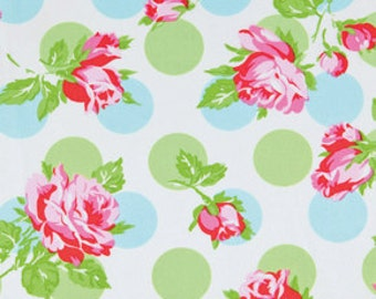 1 YARD Quilt Cotton Fabric Sugar Hill collection by Tanya Whelan for Free Spirit Blue Falling Roses