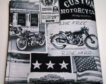 Handkerchief - Motorcycle Classic Biker Vintage Ads  Reversible Hanky  Cotton Hank EDC Everyday Carry Pocket Dump