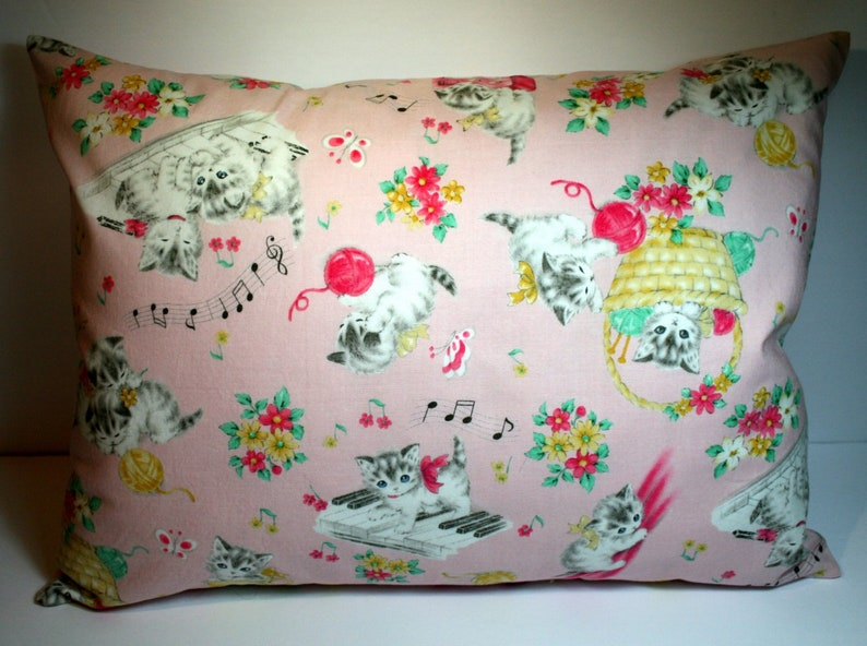 LAST ONE 12X16 Travel Pillowcase ~ Adorable Retro Musical Cats in Pink  Cat Lover Gift  Birthday