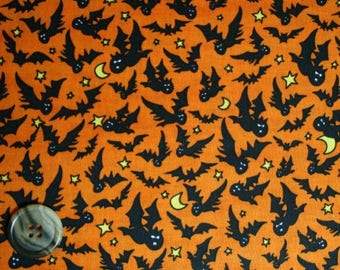 1 YARD Quilt Cotton Fabric Halloween Black Bats on Orange Fabric The Boo Crew by P and B Textiles