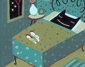 Every Night . Cat Sleeps in Bed PRINT
