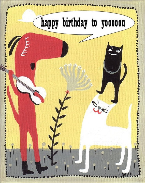 Happy Birthday Dog N Cat Card Guitar Playing Dog With Cat Etsy