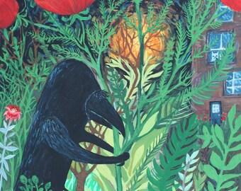 """Crow & Poppies Art Print - Raven, Black Bird Outsider Folk Artwork by Sara Pulver - Turn Around Little Bird 8x10"""""""