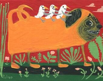 Pug & Seagulls Art Painting - Original Folk Wall Decor Artwork - Whimsical Funny Outsider Dog n Bird Art