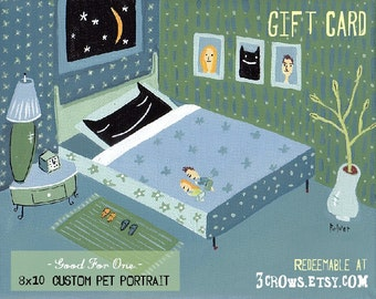 Custom Pet Portrait Gift Card from 3crows for 8x10 Painting on Canvas