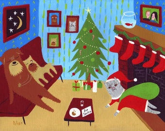 Funny Grumpy Cat Santa n Dogs Christmas Art Card - Whimsical Yorkie Pug Chug Dog & Grey Tiger Cat Holiday Folk Art