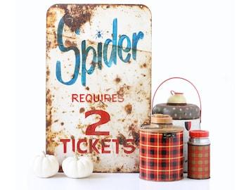 Vintage Sign, Fair, Carnival Rider, Spider Ride Sign