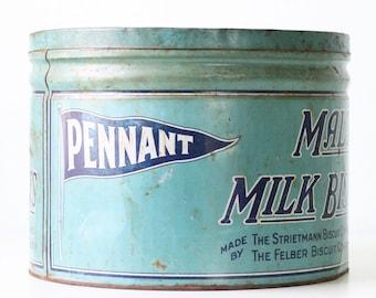 Vintage Pennant Tin, Malto Milk Biscuits
