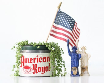 Vintage American Royal Coffee Tin, Red and White Patriotic Coffee Tin