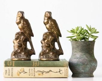 Vintage Parrot Bookends, Cast Iron, Set of 2