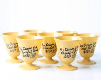 Vintage Ice Cream Cups, Ice Cream is a Cheerful Food, Milk Glass, Hazel Atlas Guild Product, Set of 7