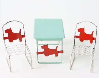 Vintage Terrier Chair and Table, Miniature Dollhouse Size Scottie Dog Patio Furniture