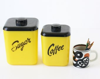 Vintage Kitchen Containers, Sugar and Coffee, Retro Plastic Containers