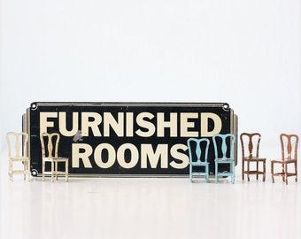 Vintage Sign, Furnished Rooms, Art Deco Sign