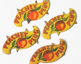 Vintage Peachey Tobacco Cigar Tags, Set of 4