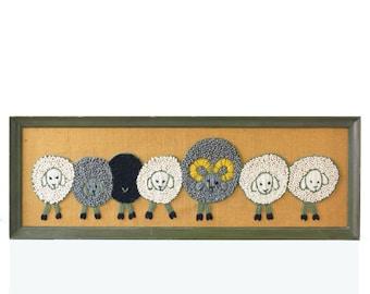 Vintage Crewel Artwork, Sheep, Long Framed Embroidery Piece