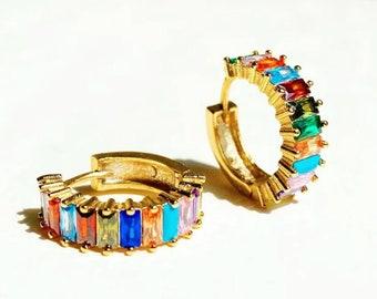 Rainbow Crystal Hoop Earrings, Rainbow Earrings, Crystal Earrings, Huggie Hoop Earrings, Hoop Earrings, Rainbow Jewelry