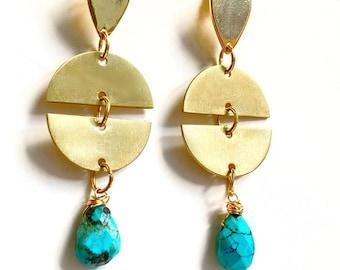 Geometric Turquoise Earrings- Geometric Jewelry- Handmade Earrings- Geometric Brass Earrings- Boho Jewelry- Hippie Earrings