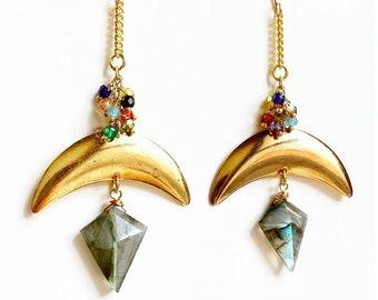 Crystal Statement Earrings, Crystal Earrings, Crystal Jewelry, Boho Jewelry, Boho Earrings, Statement Jewelry
