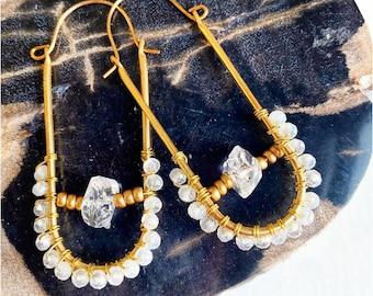 Crystal Hoop Earrings- Moonstone Crystal Earrings-  Beaded Hoop Earrings- Statement Earrings- Crystal Jewelry- Wholesale Earrings