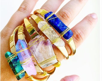 Crystal Cuff Bracelets- Gem Stone Bracelet - Gem Stone Cuff- Crystal Jewelry- Boho Bracelet-  Boho Jewelry