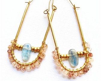 Crystal Hoop Earrings- Crystal Earrings-  Beaded Hoop Earrings- Statement Earrings- Crystal Jewelry- Wholesale Earrings
