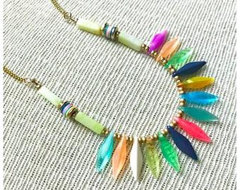 Long Boho Necklace- Peacock