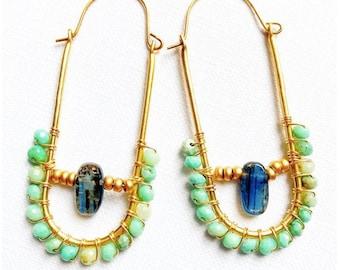 Crystal Hoop Earrings- Opal Crystal Earrings-  Beaded Hoop Earrings- Statement Earrings- Crystal Jewelry- Wholesale Earrings