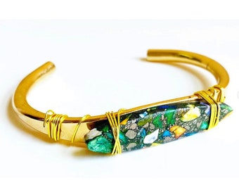 Crystal Cuff- Jasper Gem Stone Cuff- Statement Cuff- Sustainable Jewelry- Boho Jewelry Bracelet