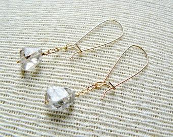 Dainty- Herkimer Diamond Boho Dangle Earrings