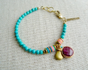 Ruby Red- Beaded Turquoise and Ruby Bracelet