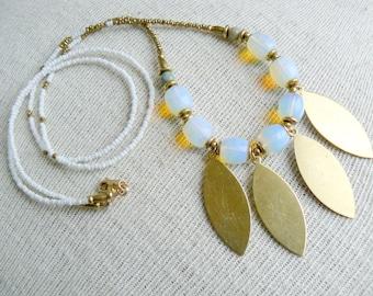 Petal Blossom- Beaded Long Brass Pendant Necklace