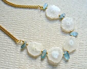 Gem Stone Necklace Solar Quartz and Kyanite - Ally
