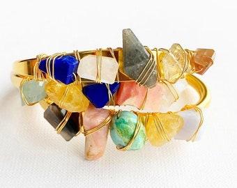 Birthstone Crystal Cuff- Gem Stone Cuff Bracelet- Birthstone Bracelet- Birthstone Cuff - Zodiac Jewelry - Crystal Jewelry