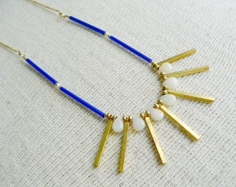 Sunbeam Beaded Bib Opal Layering Necklace