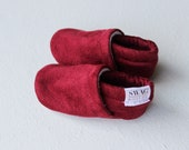 Baby Booties Faux Suede Wine Burgundy red Baby Shoes Soft Sole Crib shoes slippers non slip Newborn booties SWAG Infant Gender Neutral