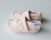 Baby Booties Faux Suede blush pink Baby Shoes Soft Sole shoes Crib shoes slippers non slip Newborn booties SWAG Infant Gender Neutral gift