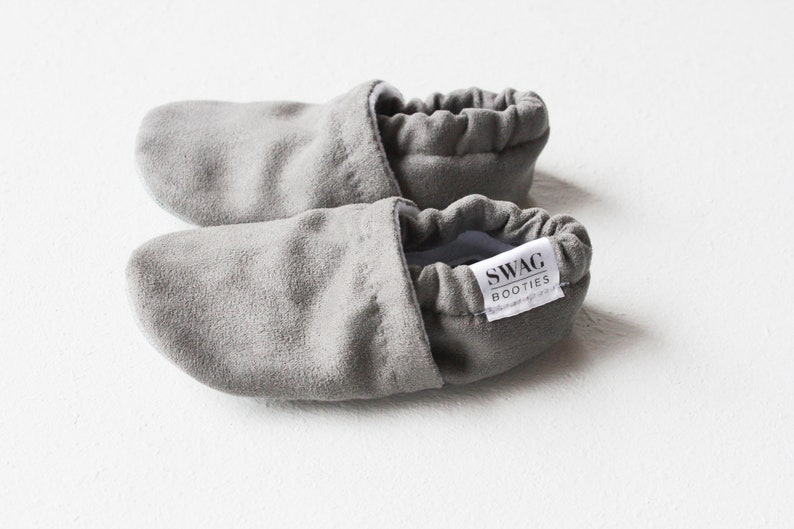 64d0c8ba8c43c Baby Booties Faux Suede Grey Gray Baby Shoes Soft Sole shoes Crib shoes  slippers non slip Newborn booties SWAG Infant Gender Neutral gift