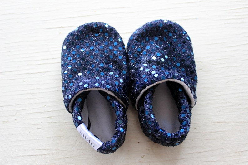 df6b1ce84a7dc Baby Booties Baby Girl Shoes Infant Soft Soled Shoes slippers non slip Navy  Blue Sequins Holiday Sparkle Shiny Fancy Glitter gift SWAG