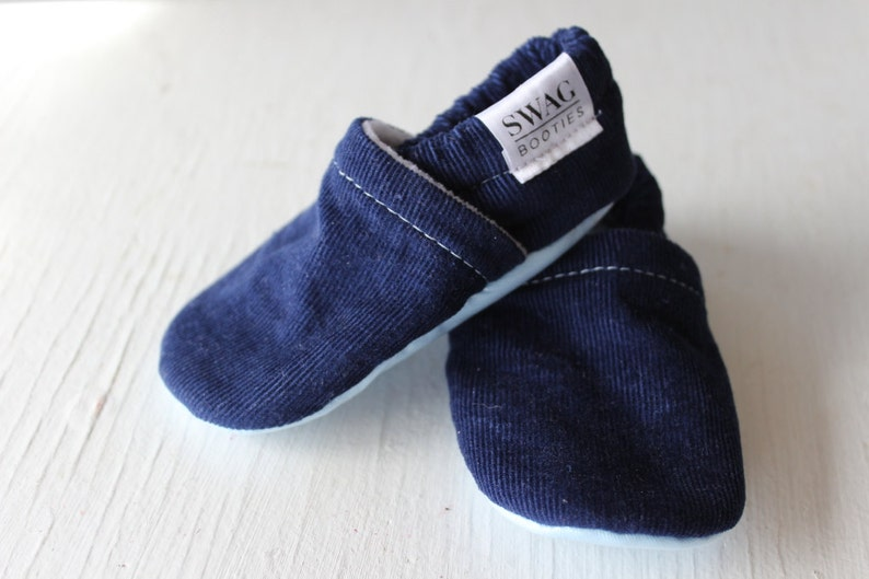 5c61c72933bc2 Corduroy Baby Booties boy girl toddler slippers shoes soft soled non slip  SWAG Navy Blue newborn gift