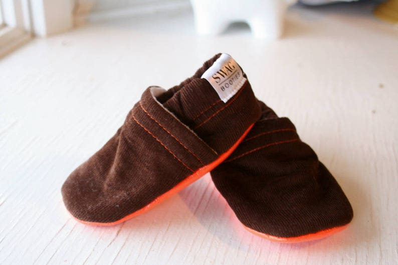 8a8e0864c98dc Corduroy Baby Booties boy girl toddler slippers shoes soft soled non slip  SWAG brown fall wardrobe clothing baby shower gift corduroy