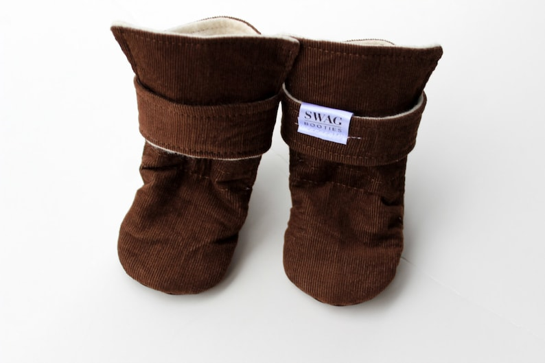 7e3483da6e021 SWAG Booties Baby Boots Infant Toddler Newborn Kid Non Slip Elastic  Waterproof Soft Sole Strap Shower Gift Corduroy Brown Grey Pink