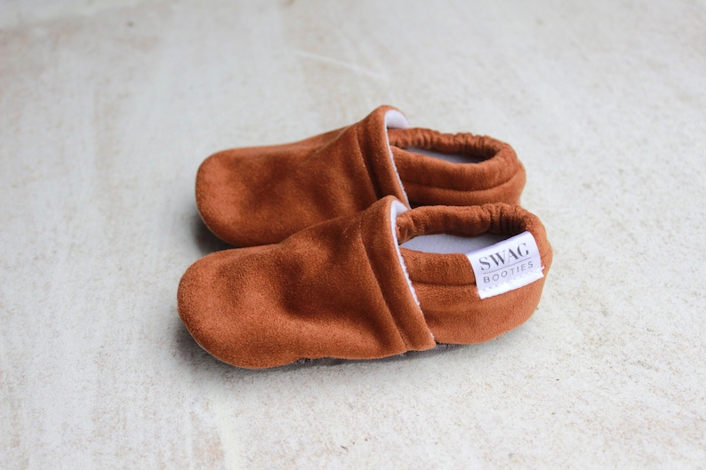 07b49b916c1cf Baby Booties Faux Suede Cognac Brown Baby Shoes Soft Sole shoes Crib shoes  slippers non slip Newborn booties SWAG Infant Gender Neutral gift