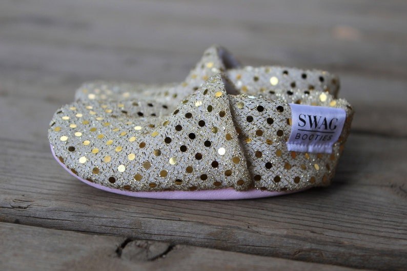 00a12bb70ef8b Baby booties girls Slippers Crib Shoes Infant newborn Soft Soled Shoes  Sparkly Gold Sequins non slip SWAG shower gift shimmer