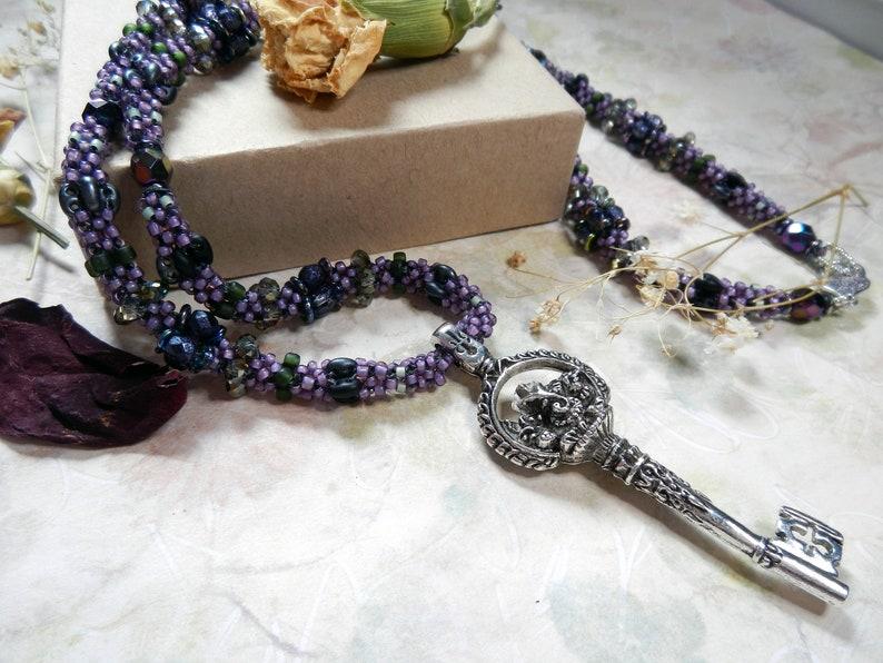 Key to Wisdom Purple Beaded Necklace