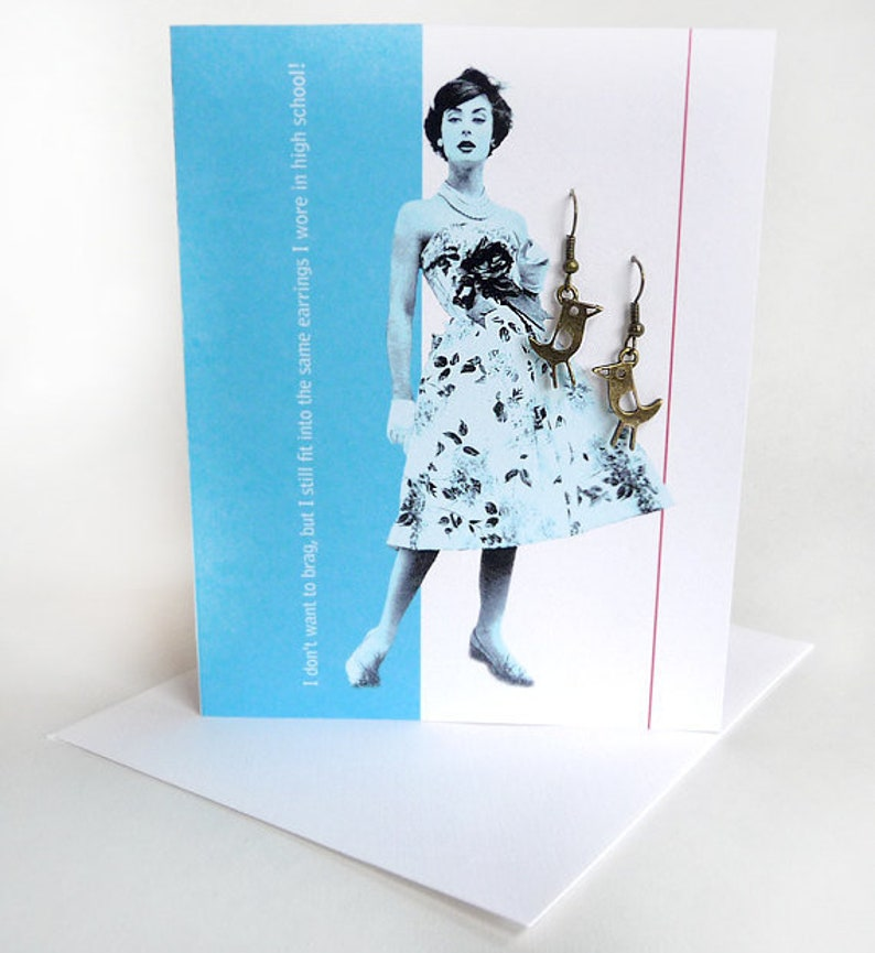 Humorous Mothers Day Funny Card Earrings Bird Antique Bronze image 0