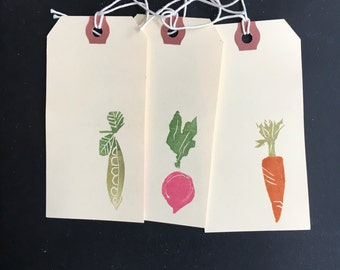 hand stamped vegggie gift tags